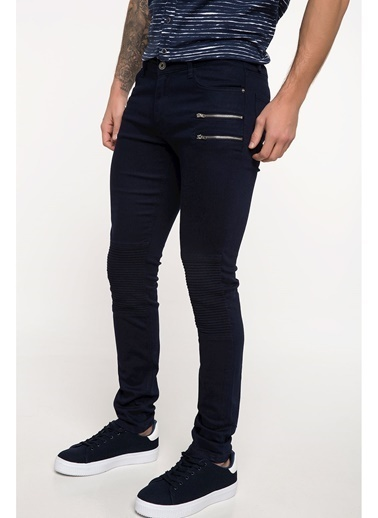 DeFacto Carlo Skinny Fit Fermuar Detaylı Pantolon Lacivert